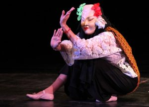 Ligaya Amilbangsa wearing mask in a performance at the CCP Little Theater on the occaion of ALAB NCCA in April 2016. Photo courtesy of NCCA.